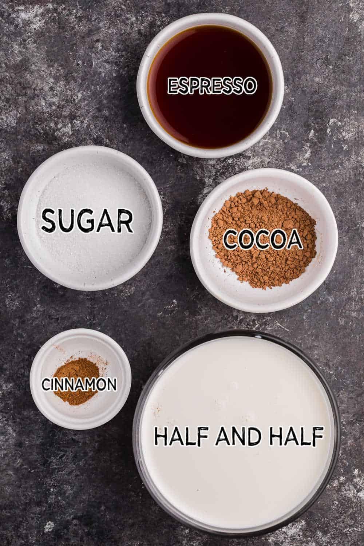 ingredients to make mocha latte