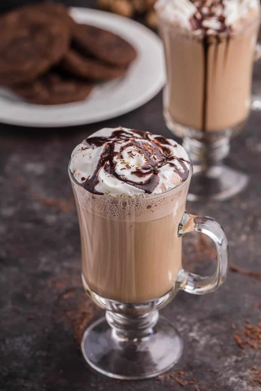 A glass of mocha latte