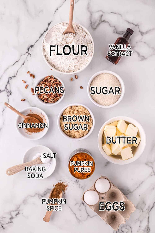ingredients to make pumpkin crumb muffins