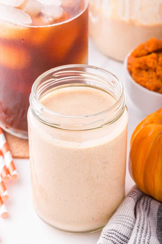 pumpkin spice creamer in a glass jar