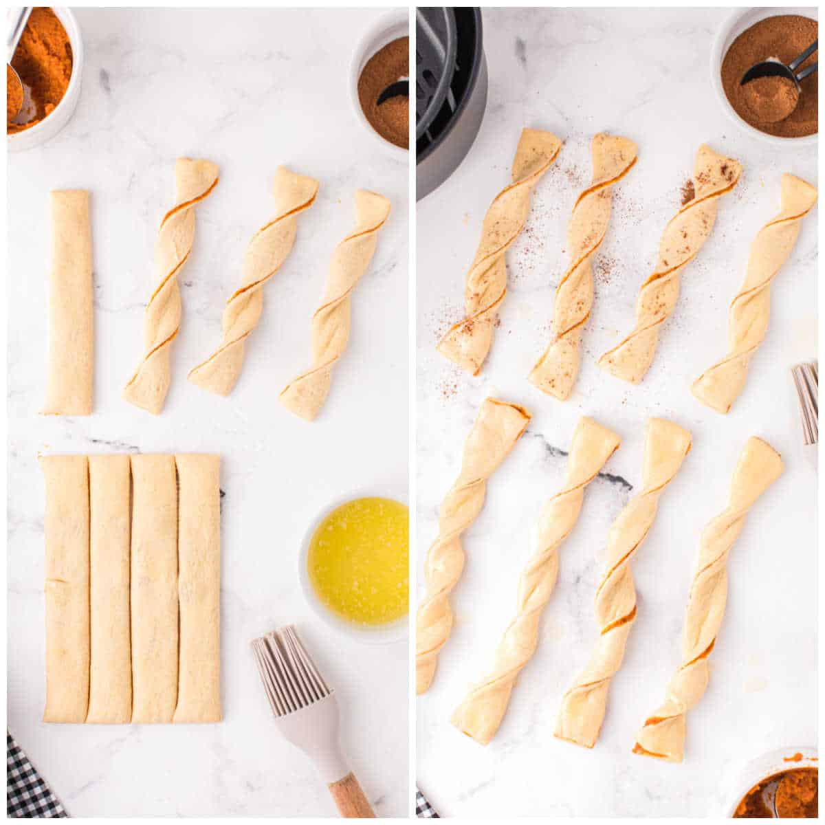 how to make air fryer pumpkin pie twists with crescent roll dough