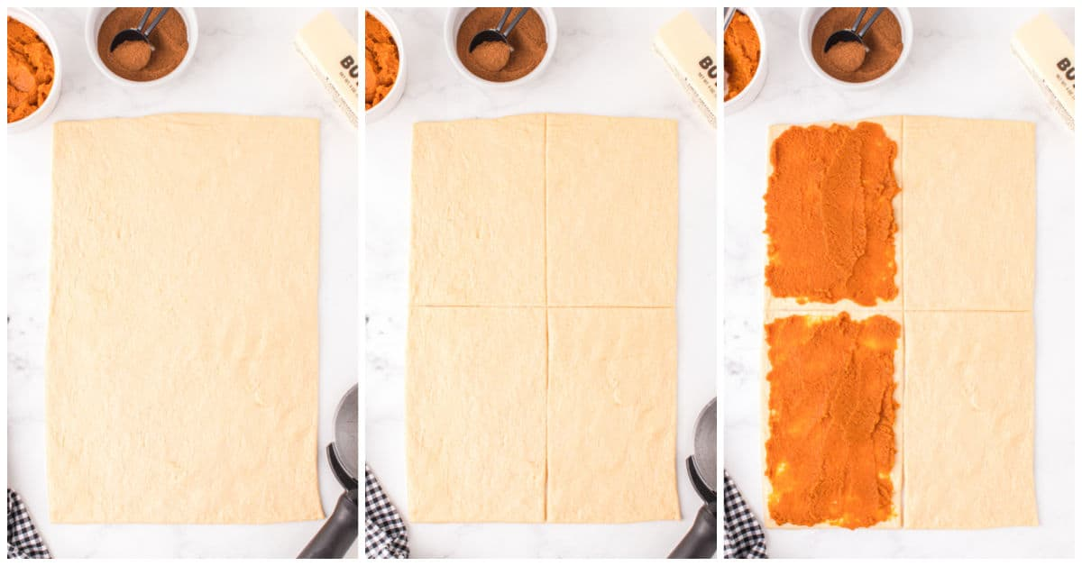 step one in how to make air fryer pumpkin pie twists