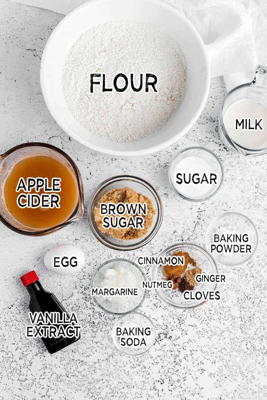 ingredients to make baked apple cider donuts