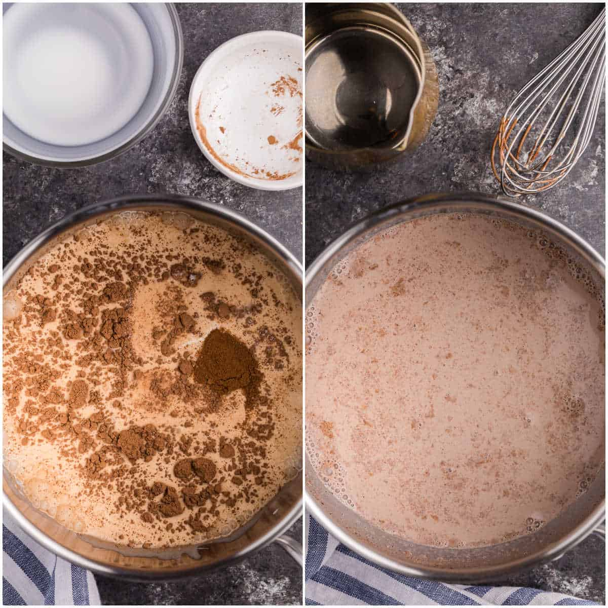 prep of mocha latte showing how to make the creamy portion