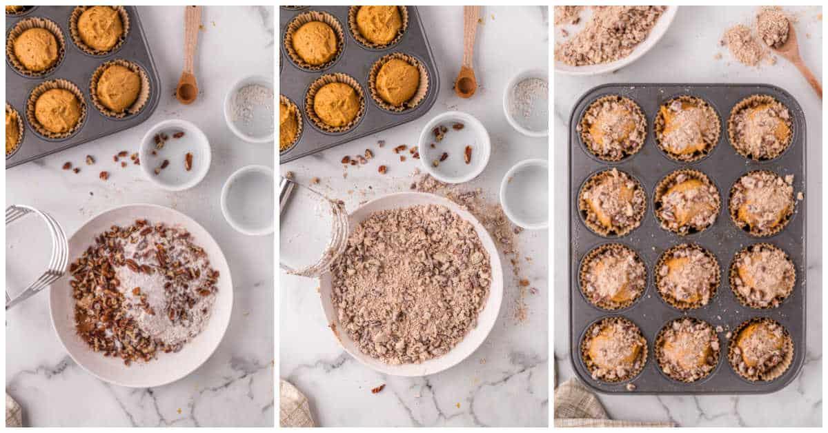pumpkin crumb muffins prep
