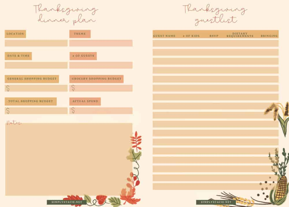 thanksgiving planner printable sheets